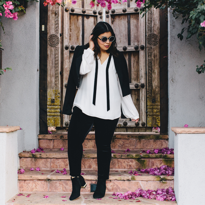 White House Black Market plus size leggings, blouse, pearl booties