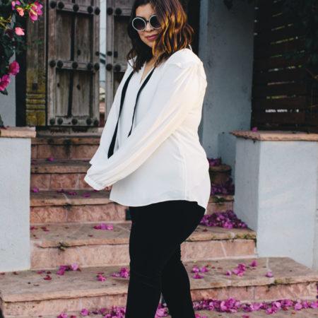 White House Black Market plus size leggings, blouse, pearl booties