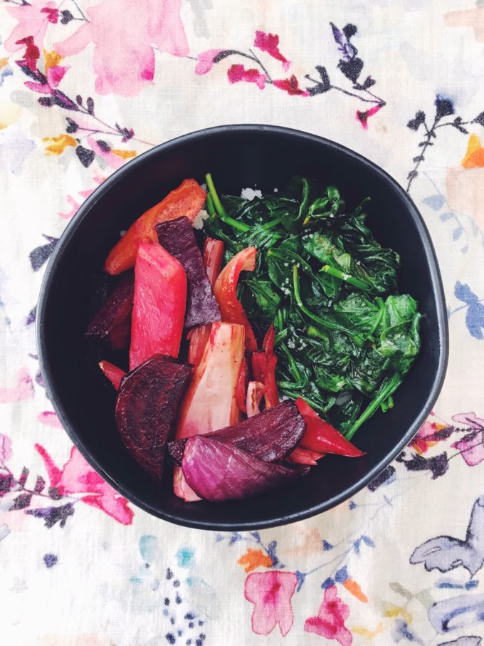 Veggie bowl with beets, carrots, fennel, onion, and spinach, over rice